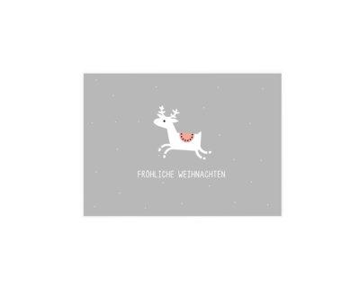 Rentierkarte, grau, Weihnachten